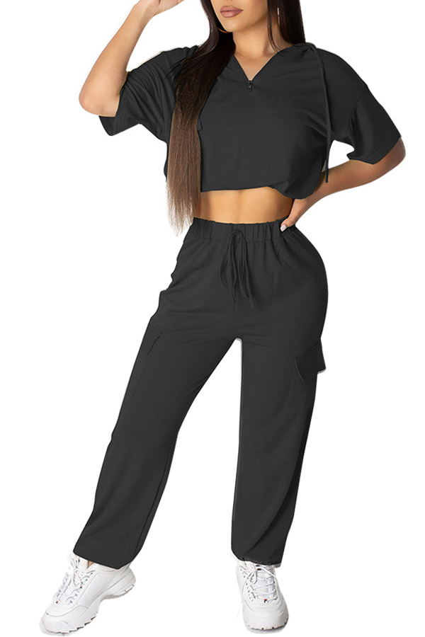 Lovely Casual Hooded Collar Black Two-piece Pants Set