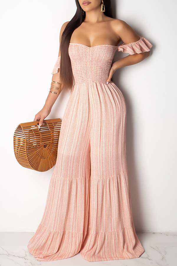 Lovely Sweet Off The Shoulder Light Pink One-piece Jumpsuit