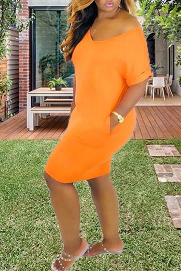 Lovely Casual V Neck Croci Mini A Line Dress