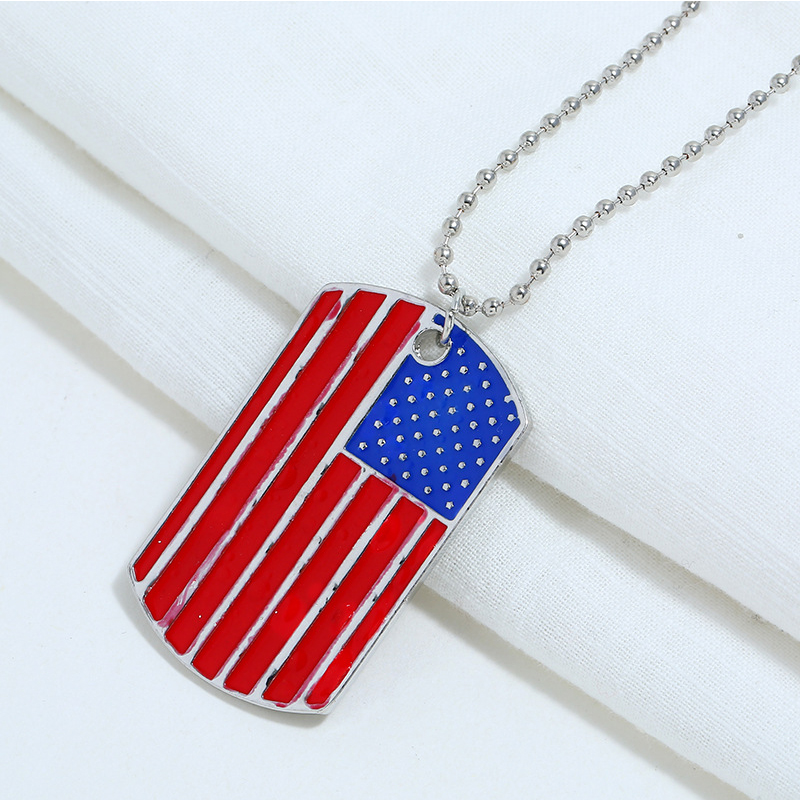 Lovely Independence Day Fashion Striped Patchwork Red Alloy Necklace
