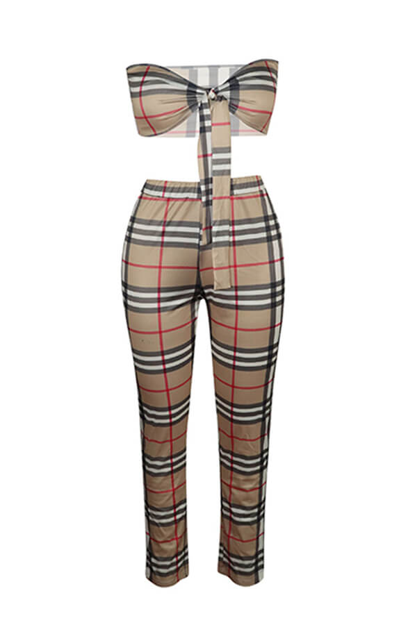 Lovely Casual Off The Shoulder Plaid Printed Brown Two-piece Pants Set