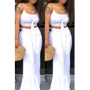 Lovely Casual Knot Design White Two-piece Pants Set