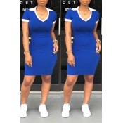 Lovely Casual Patchwork Royal Blue Mini Dress(With