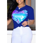 Lovely Leisure O Neck Heart-shaped Printed Blue T-shirt