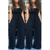 Lovely Casual Off The Shoulder Black One-piece Jum