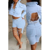 Lovely Stylish Hollow-out Baby Blue Denim Coat