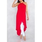 Lovely Stylish Halter Neck Asymmetrical Red Blouse