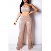 Lovely Sexy Off The Shoulder High Waist Gold Two-piece Pants Set