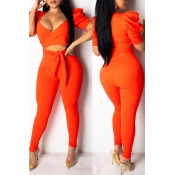 Lovely Casual V Neck Hollow-out Orange Two-piece P