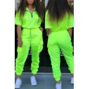 Lovely Stylish V Neck Zipper Design Green Two-piece Pants Set