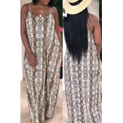 Lovely Stylish Printed Backless Brown Floor Length