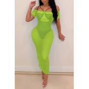 Lovely Sexy See-through Green Ankle Length Dress