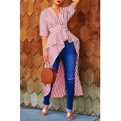Lovely Casual Striped Asymmetrical Red Blouse