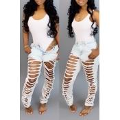 Encantadores Pantalones Casuales Agujeros Rotos