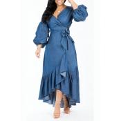 Lovely Trendy Asymmetrical  Dark Blue Denim Mid Ca