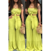 Lovely Casual Knot Design Green Two-piece Pants Set