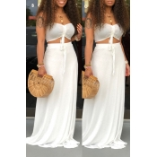 Lovely Casual Off The Shoulder White Two-piece Skirt Set