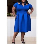 Lovely Stylish Off The Shoulder Blue Dress