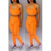 Lovely Casual U Neck Patchwork Orange Two-piece Pants Set