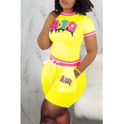 Lovely Casual O Neck Letter Printed Yellow Two-piece Shorts Set