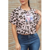 Lovely [Presale]Casual Leopard Printed Pink T-shir