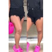 Pantalones Cortos De Mezclilla Negro Precioso Diseño Elegante Borla