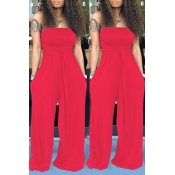 Lovely Casual Off The Shoulder Red One-piece Jumpsuit