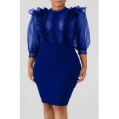 Lovely Sexy See-through Royal Blue Knee Length A Line Dress
