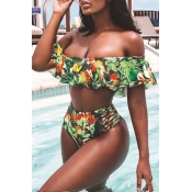 Lovely Off The Shoulder Printed Green Two-piece Sw