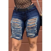 Lovely Leisure Broken Holes Dark Blue Denim Shorts