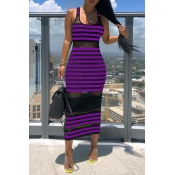 Lovely Chic Striped See-through Purple Mid Calf Dress