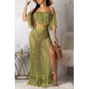 Lovely Off The Shoulder Tassel Design Green Cover-up(Top+Bottoms)