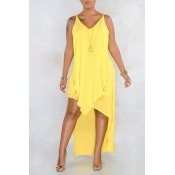 Lovely Casual V Neck Asymmetrical Yellow Mid Calf Dress(Nonelastic)
