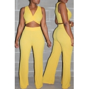 Lovely Casual V Neck Yellow Two-piece Pants Set