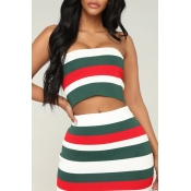 Lovely Casual Off The Shoulder Striped Printed Green Two-piece Skirt Set