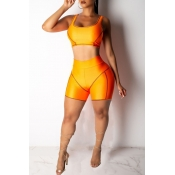 Lovely Casual U Neck Patchwork Orange Two-piece Shorts Set