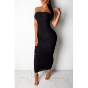 Lovely Casual Off The Shoulder Black Ankle Length