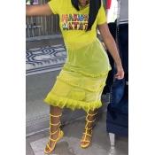 Lovely Stylish O Neck Printed Gauze Patchwork Yellow T-shirt
