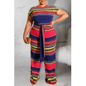 Lovely Stylish O Neck Striped Printed Two-piece Pa
