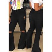 Schöne Lässige Gebrochene Löcher Schwarze Jeans
