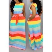 Precioso Piso De Rayas Multicolor Impreso A Rayas Le