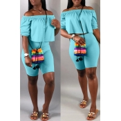 Lovely Casual Off The Shoulder Baby Blue Two-piece Shorts Set