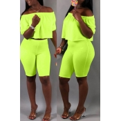 Lovely Casual Off The Shoulder Green Two-piece Sho