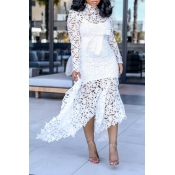 Lovely Sexy Lace Patchwork Asymmetrical White Ankl