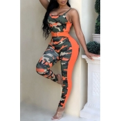 Lovely Casual Camouflage Printed One-piece Jumpsui
