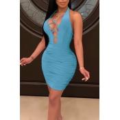 Precioso Y Sexy Profundo Cuello En V Hueco Mini-vestido Azul
