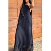 Vestido Largo Encantador Con Cuello Halter Sexy Negro