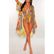 Lovely Halter Neck Printed Hollow-out Croci One-pi