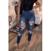 Lovely Trendy High Waist Deep Blue Jeans
