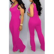 Lovely Casual O Neck Rose Red One-piece Jumpsuit